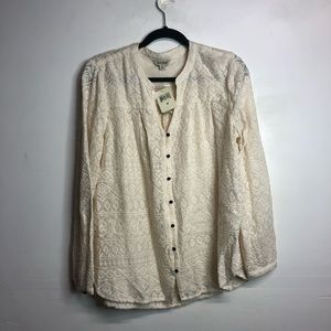 Lucky brand lace embroidered Med cream blouse